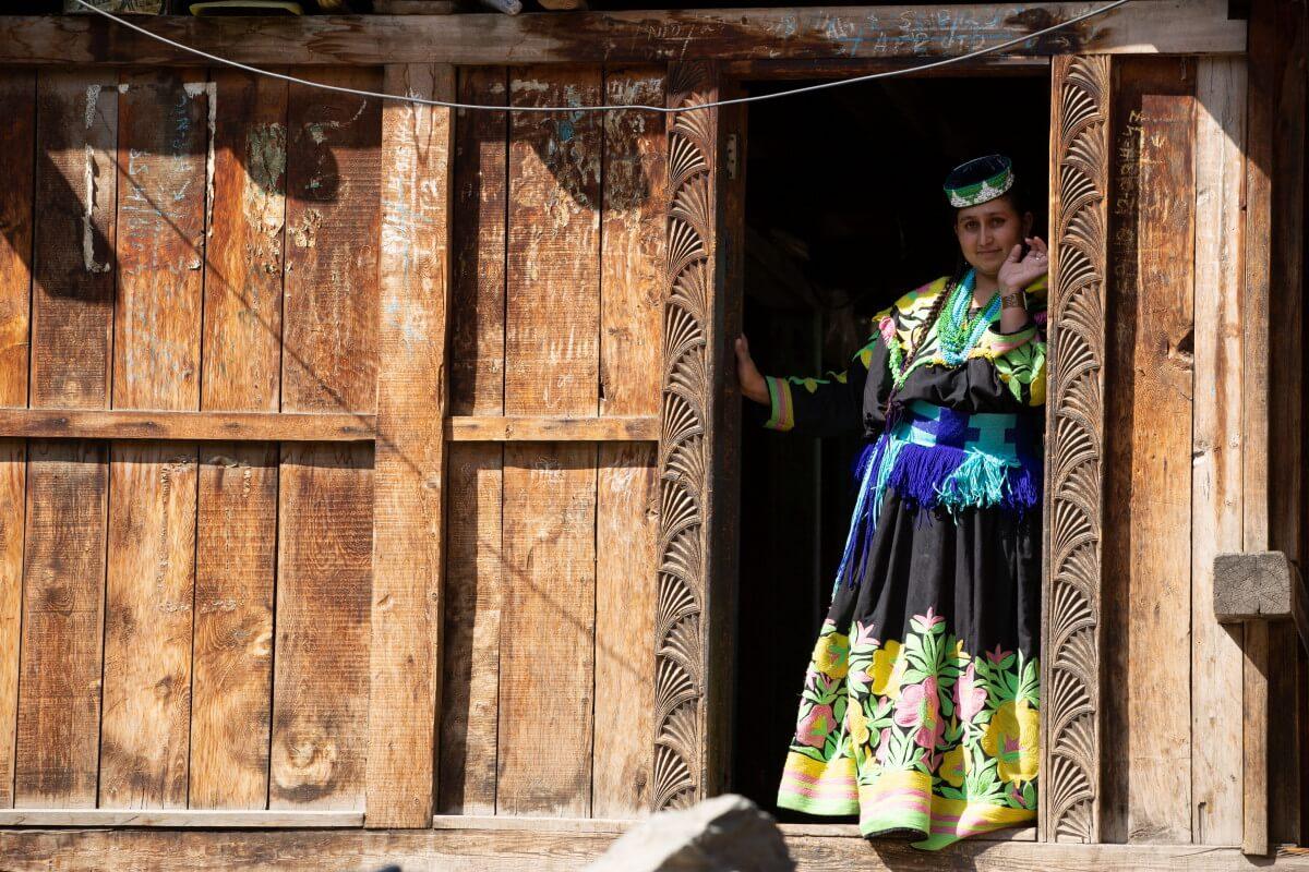 Kalasha woman greeting